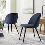 Dining Dark Blue Mid Century Modern Kitchen Velvet Upholstered Accent Leisure Chairs (Set of 2)