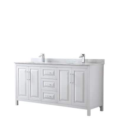 Daria 72 in. Double Bathroom Vanity in White with Marble Vanity Top in Carrara White with White Basin