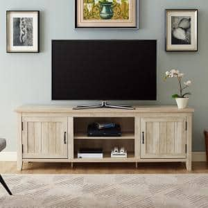 70 in. White Oak Composite TV Stand Fits TVs Up to 78 in. with Storage Doors