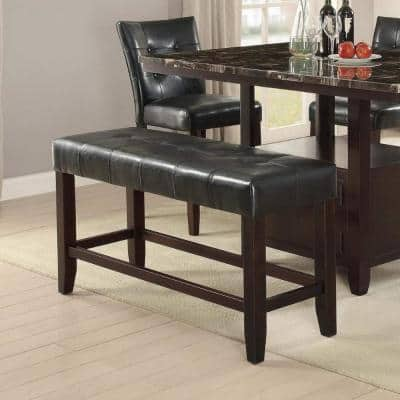 Black Faux Leather High Bench