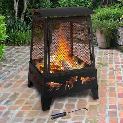 Haywood 33 in. Steel Wood Burning Outdoor Fireplace