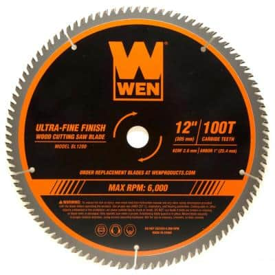 12 in. 100-Tooth Carbide-Tipped Ultra-Fine Finish Professional Woodworking Saw Blade for Miter Saws and Table Saws