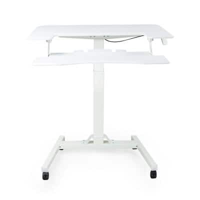 White Pneumatic Height Adjustable Sit Stand Laptop Desk with Keyboard Holder
