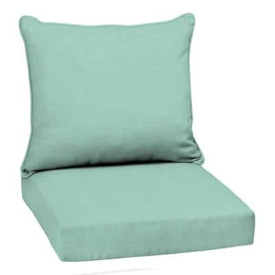 Leala Texture 22 in. x 24 in. 2-Piece Deep Seating Outdoor Lounge Chair Cushion in Aqua