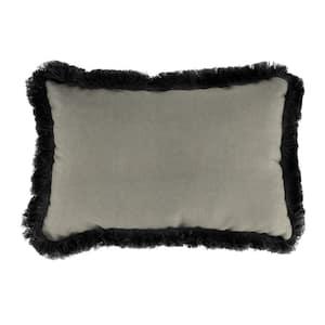 Sunbrella 19 in. x 12 in. Spectrum Dove Lumbar Outdoor Throw Pillow with Black Fringe