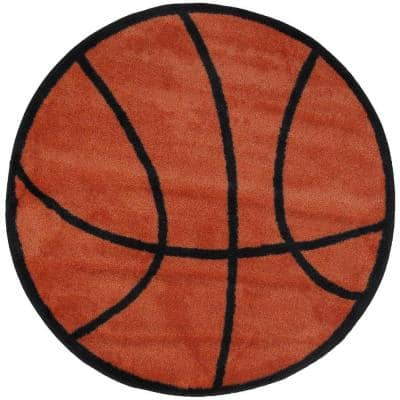 Fun Time Shape Basketball Brown and Black 3 ft. Round Area Rug