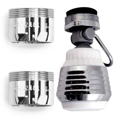 HydroSAVER Combo Pack - Swivel Dual Spray Kitchen Aerator with Pause, 2x Bath Aerator - 1.5 GPM in Chrome - WaterSense