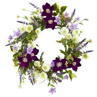 22 in. Indoor Mixed Flower Artificial Wreath