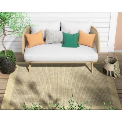 Medusa Odin Yellow Solid and Striped Border Indoor/Outdoor 7 ft. 10 in. x 9 ft. 10 in. Area Rug