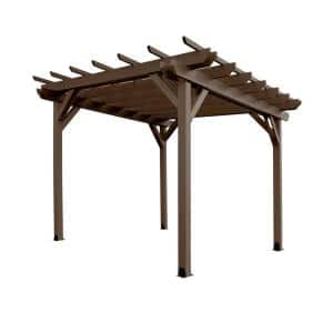 Bodhi 12 ft. x 12 ft. Weathered Acorn Plastic Pergola