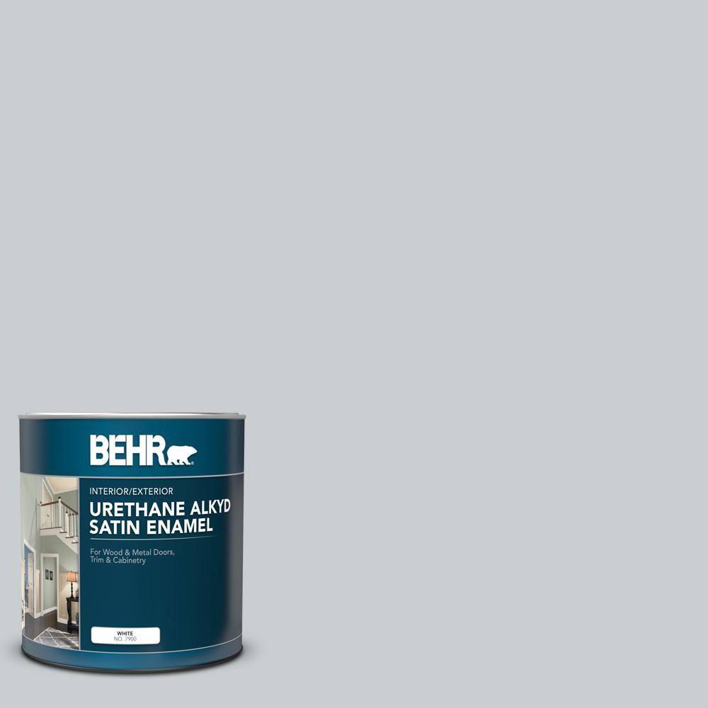 Behr 1 Qt 760e 2 Manhattan Mist Satin Enamel Urethane Alkyd Interior Exterior Paint 790004 The Home Depot
