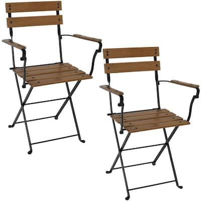 Basic Folding European Chestnut Wood Outdoor Dining Armchair - (Set of 2)