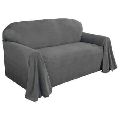 Coral Fleece Throw Gray Polyester Fits on Sofa Slip Cover 1-Piece