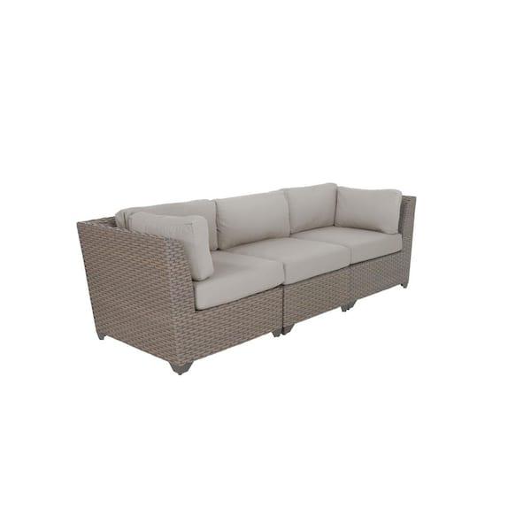 Tk Classics Florence 3 Piece Wicker, Patio Furniture 3 Piece Sectional Sofa Resin Wicker Beige