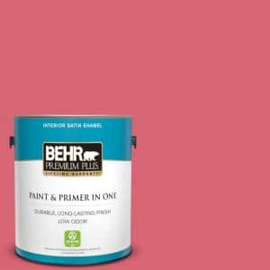 Behr Premium Plus 1 Gal P150 5 Kiss And Tell Satin Enamel Low Odor Interior Paint And Primer In One 740001 The Home Depot