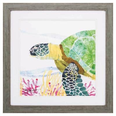 """""""SEA CREATURE TURTLE"""" Framed Wall Art Animal 23 in. x 23 in."""
