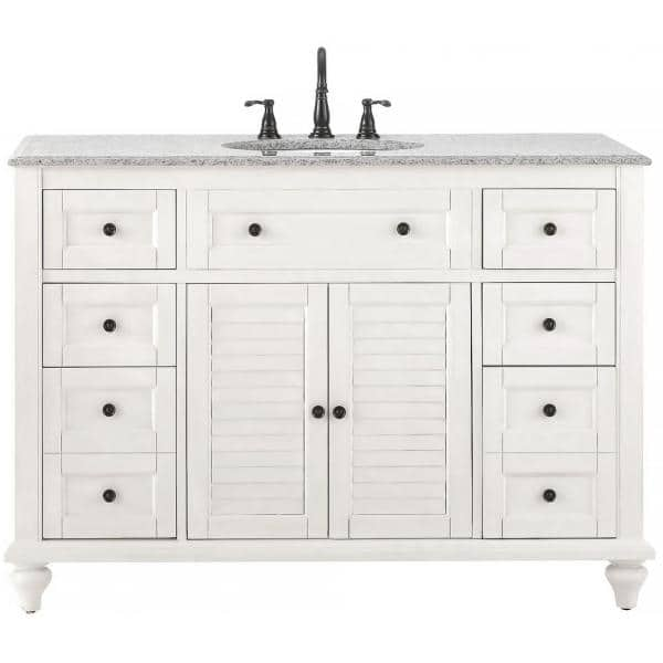 Home Decorators Collection Hamilton Shutter 49 1 2 In W X 22 In D Bath Vanity In Ivory With Granite Vanity Top In Grey 10806 Vs48h Dw The Home Depot