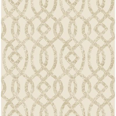 Arabella, Ethereal Bronze Trellis Wallpaper