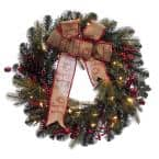 30 in. Pre-Lit Incandescent Artificial Christmas Wreath with 150 Tips and 70 Ul Clear Lights