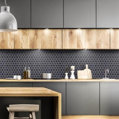 Midnight Hex Black 10.875 in. x 9.5 in. Honed Marble Wall and Floor Mosaic Tile (0.717 sq. ft./Each)