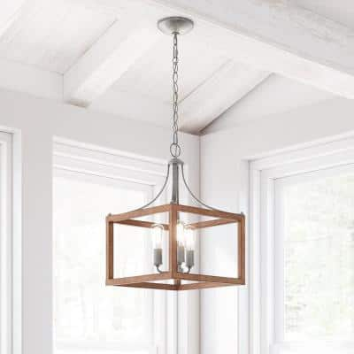 Boswell Quarter 3-Light Galvanized Pendant with Painted Chestnut Wood Accents