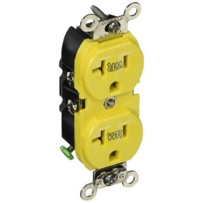 20 Amp Commercial Grade Weather Resistant Backwired Self Grounding Duplex Outlet, Yellow