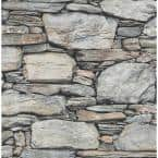 Cesar Grey Stone Wall Grey Wallpaper Sample