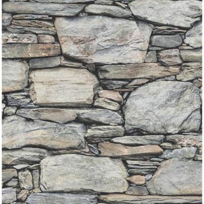 Cesar Grey Stone Wall Grey Wallpaper Sample