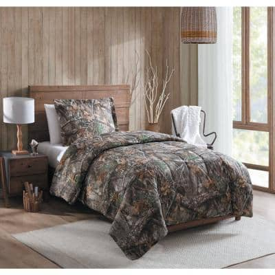 2-Piece Polyester Cotton Twin Size Camouflage Comforter Set