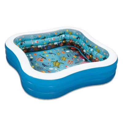 3D Goggles Family 90 in. x 90 in. Square 22 in. D Inflatable Pool with 3D Goggles