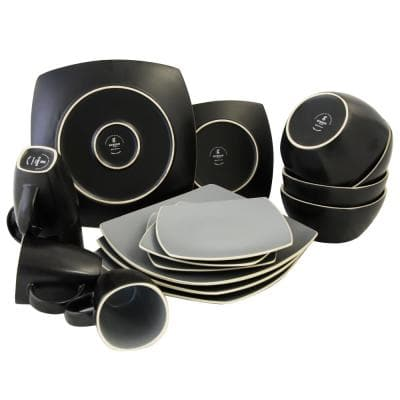 Soho Lounge 16-Piece Contemporary Gray Stoneware Dinnerware Set (Service for 4)