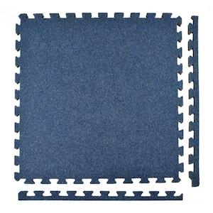 Royal Carpet Blue Velour Plush 2 ft. x 2 ft. x 5/8 in. Interlocking Carpet Tile 96.875 sq. ft. (25 Tiles/Case)