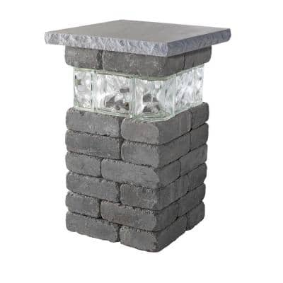 20 in. Bluestone Lakeland Pillar with Glass