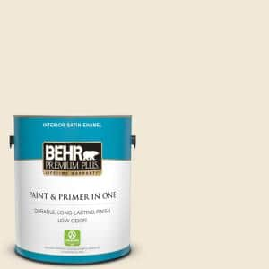 Behr Premium Plus 1 Gal 13 Cottage White Satin Enamel Low Odor Interior Paint And Primer In One 705001 The Home Depot