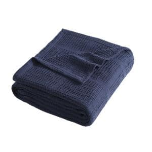 Waffle Grid 1-Piece Blue Solid Cotton King Blanket