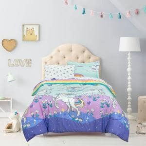 Magical Unicorn Multi color Twin size Bed in a Bag with Reversible Comforter