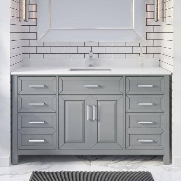 Art Bathe Terrence 60 In W X 22 In D Bath Vanity In Gray Engrd Stone Vanity Top In White With White Basin Power Bar Organizer To60og The Home Depot