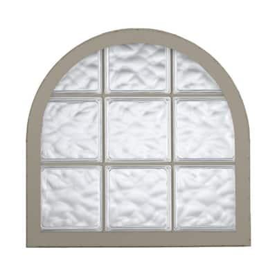42 in. x 50 in. Acrylic Block Round Top Vinyl Window in Driftwood