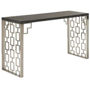 Skyline 60 in. Brushed Stainless Steel Standard Rectangle Wood Console Table