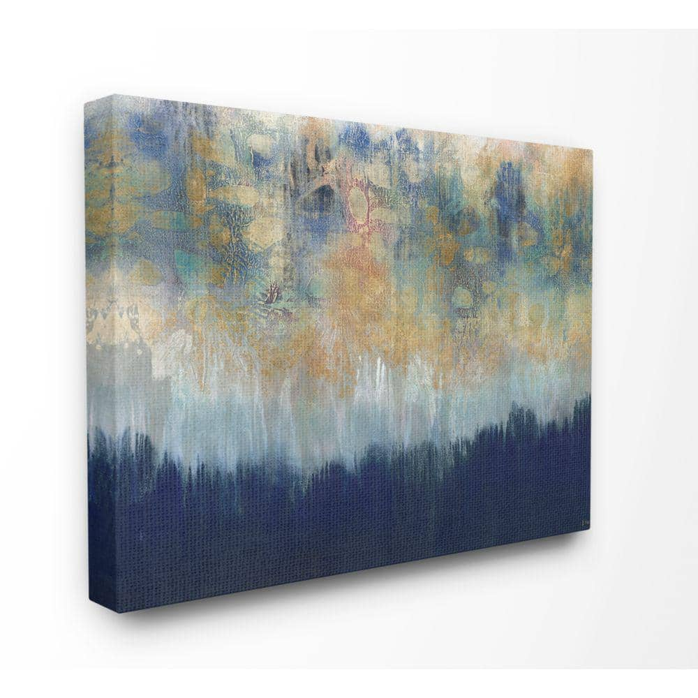 Stupell Industries Abstract Gold Blue Tex Tured Surface Painting By Third And Wall Canvas Wall Art 48 In X 36 In Asa 139 Cn 36x48 The Home Depot