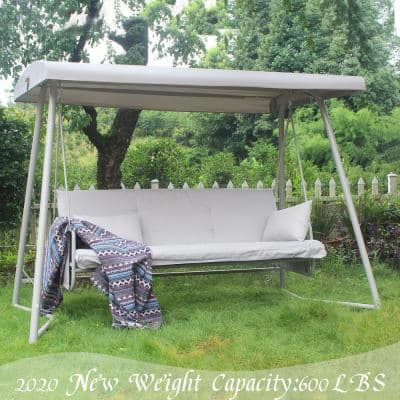 3 Person Steel Patio Swing Chair with Champagne Cushions