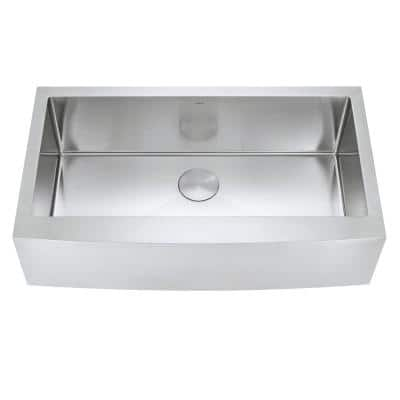 Prato 36 in. Single Bowl Farmhouse Curved Apron Front Stainless Steel Kitchen Sink 16-Gauge