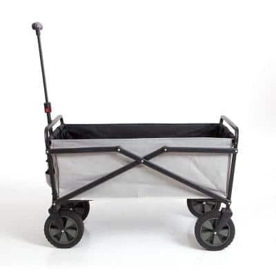 150 lbs. Capacity Manual Folding Steel Wagon Outdoor Garden Cart in Gray