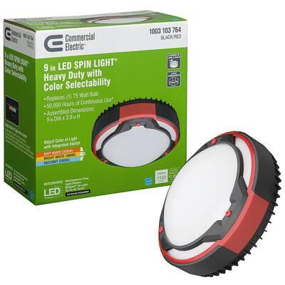 Spin Light 9 in. Heavy Duty Black Red Selectable LED Flush Mount Ceiling Light 1100 Lumens 3000K 4000K 5000K