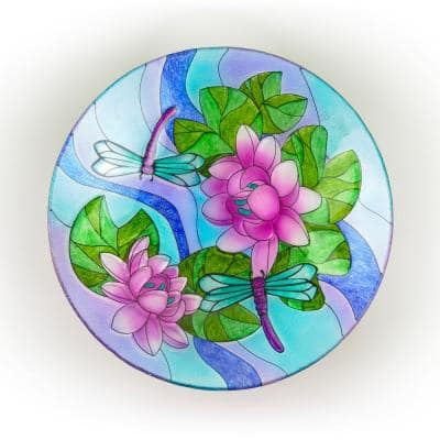 18 in. Glass Birdbath Topper with Purple Dragonfly Painted Finish