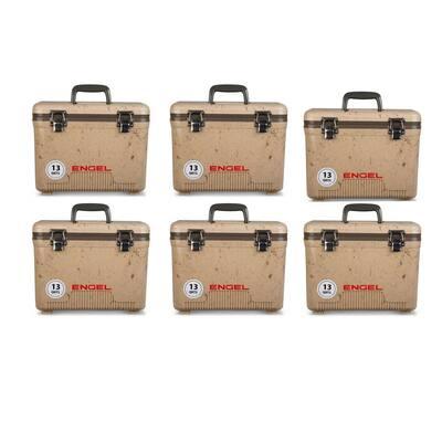 13 Qt. Fishing Dry Box Cooler with Shoulder Strap Grassland (6-Pack)