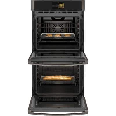 Profile 27 in. Smart Double Electric Wall Oven with Convection Self-Cleaning in Black Stainless Steel
