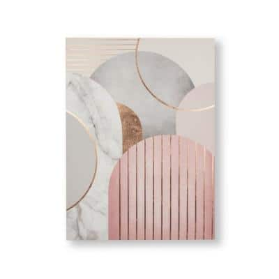 Pink and Grey Art Deco Geo Printed Canvas Abstract Wall Art 20 in. x 28 in.