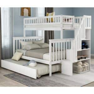 White Twin Over Full Bunk Bed with Trundle and Stairs for Kids