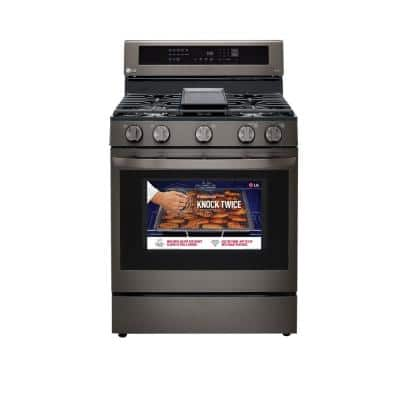 5.8 cu. ft. Smart True Convection InstaView Gas Range Single Oven with Air Fry in PrintProof Black Stainless Steel